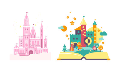 Fairytale castles, open book with fairy tale kingdom vector Illustration on a white background
