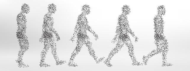 Abstract Molecule based human figure walking - simple steps of walk cycle