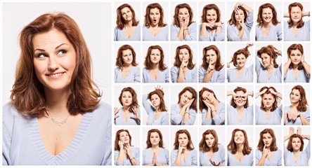 Young woman, emotions, face, collage