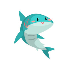 Cute funny blue shark cartoon character vector Illustration on a white background