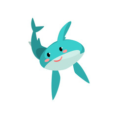 Cute blue shark cartoon characte with funny face vector Illustration on a white background