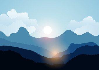 Vector landscape view with sunset