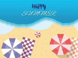 Vector summer holiday concept, top view of beach.