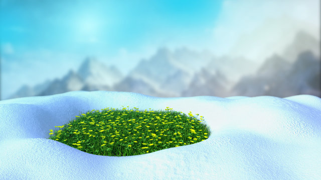 fresh green grass on the snow 3d render on mountine backgrownd