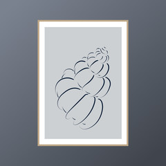 Seashell poster on blue background for interior decor