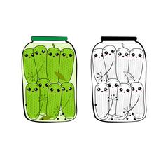 Цветное и чёрно-белое изображение стеклянной банки с консервированными весёлыми мультфильм зелёными огурчиками в стиле каваий. Изолированное изображение.