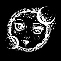Beautiful magic night crescent moon face girl.
