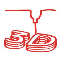 Handgezeichneter 3D-Drucker in rot