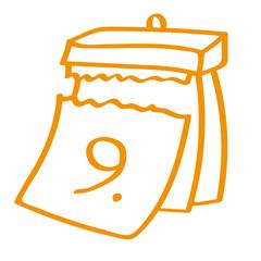 Handgezeichneter Kalender - Tag 09 in orange
