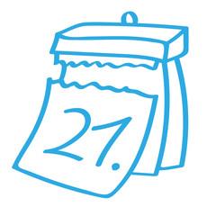 Handgezeichneter Kalender - Tag 21 in blau