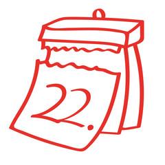 Handgezeichneter Kalender - Tag 22 in rot
