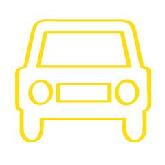 Handgezeichnetes Auto - Frontansicht in gelb