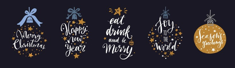 Christmas and New Year Lettering and Calligraphy phrases set 5