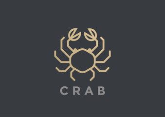Crab Logo vector design geometric Linear Seafood Restaurant icon