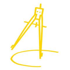 Handgezeichneter Zirkel in gelb