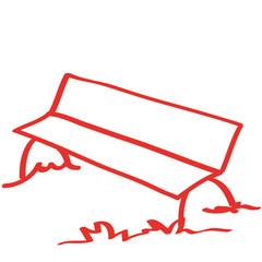Handgezeichnete Parkbank in rot