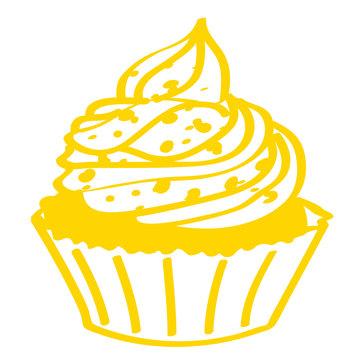 Handgezeichneter Cupcake in gelb