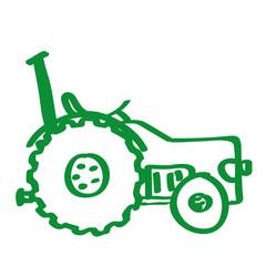 Handgezeichneter Traktor in grün