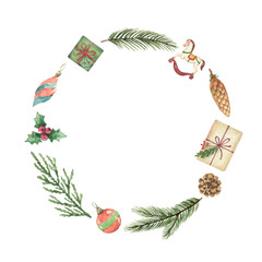 Watercolor vector Christmas wreath with green fir branches and gift.