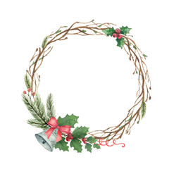 Watercolor vector Christmas wreath with fir branches and bell.