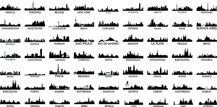Most popular world cities silhouettes skylines vector