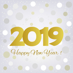 2019 golden number happy new year greeting card with silvery and white confetti
