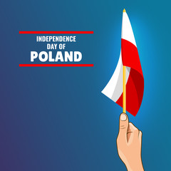 Vector Illustration on the theme Independence Day of Poland. Hand with Poland flag