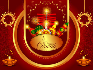 Colorful fire cracker with decorated diya for Happy Diwali festival holiday celebration of India greeting background