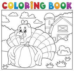 Coloring book turkey bird and pumpkin 2