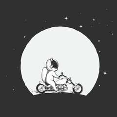 biker astronaut rides on a motorcycle on the moon background .Prints design.Space theme.Vector illustration