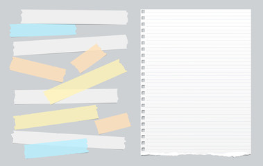 Colorful adhesive, sticky tape with white lined note notepad paper on gray background. Vector illustration