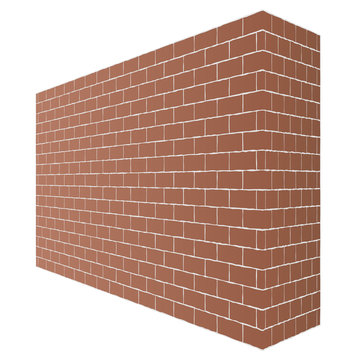 Diagonal brown brick wall texture with a perspective is isolated on white background.