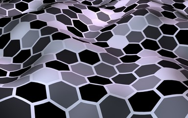 Honeycomb with a gradient color. Perspective view on polygon look like honeycomb. Wavy surface. Isometric geometry. 3D illustration
