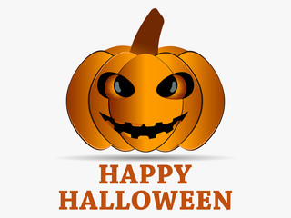 Happy Halloween. Pumpkin icon with shadow isolated on white background. Greeting card design element. Vector illustration