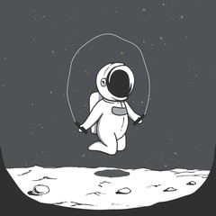 Cute astronaut jumps with a jump rope on the Moon.Prints design.Space theme.Vector illustration