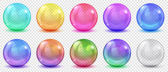 Set of translucent colored spheres with glares and shadows on transparent background. Transparency only in vector format