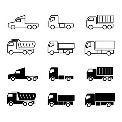 Truck silhouette and line icons. Shipping, cargo trukcs, dumpers and van isolated on white background. Vector illustration