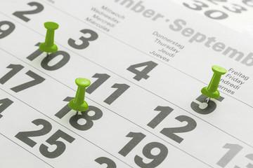 Urlaubstage im Kalender markiert