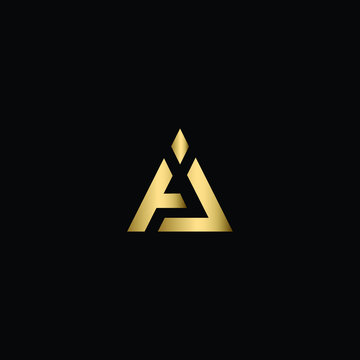 Minimal Solid Letter AJ Logo Design Using Letters A J In Vector Format