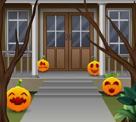 Decoration in front of  the house on halloween day