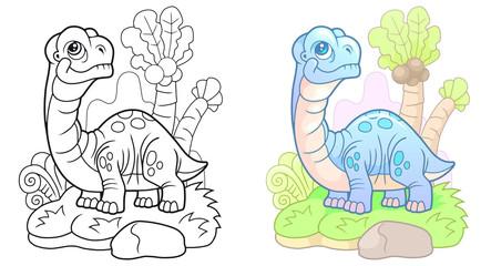 cartoon, cute dinosaur apatosaurus, funny illustration