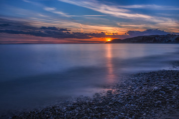 Sunset over Thassos island, East Macedonia and Thrace, Greece