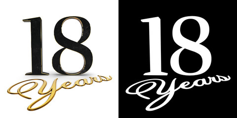 Golden number eighteen (number 18) and the inscription years with drop shadow and alpha channel. 3D illustration