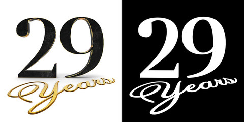 Golden number twenty nine (number 29) and the inscription years with drop shadow and alpha channel. 3D illustration