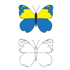 vector, isolated, coloring book butterfly