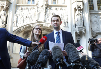 Daniel and Amy McArthur, who own Ashers Bakery in Belfast, speak at the Supreme Court in London