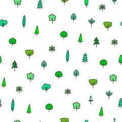Forest Garden tree nature simple seamless pattern