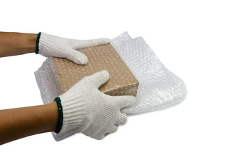 hand man hold bubble wrap, for Packing and protection product cracked or insurance During transit isolated