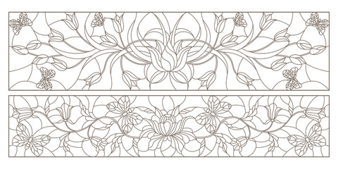 Set of contour illustrations in stained glass style with tulips, bells and butterflies, horizontal images, dark contours on a white background