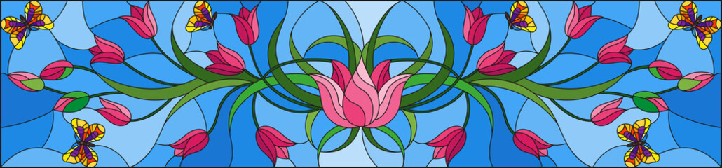 Illustration in stained glass style with pink tulips and butterflies on blue background, horizontal orientation